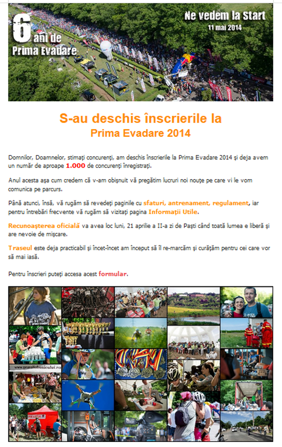 newsletter #1 prima-evadare-2014 concurs de biciclete in bucuresti