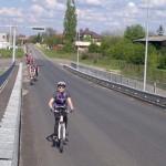 Urcarea podului de la Caldarusani la cel mai mare antrenament pentru concursul Prima Evadare prima plimbare 300 de biciclisti
