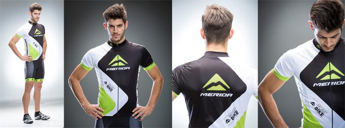 Tricou ciclism MERIDA scurt 376 GR verde alb/negru fermoar lung