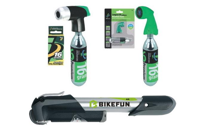 Kit reparatie bicicleta, pompa, cartuse co2, petice